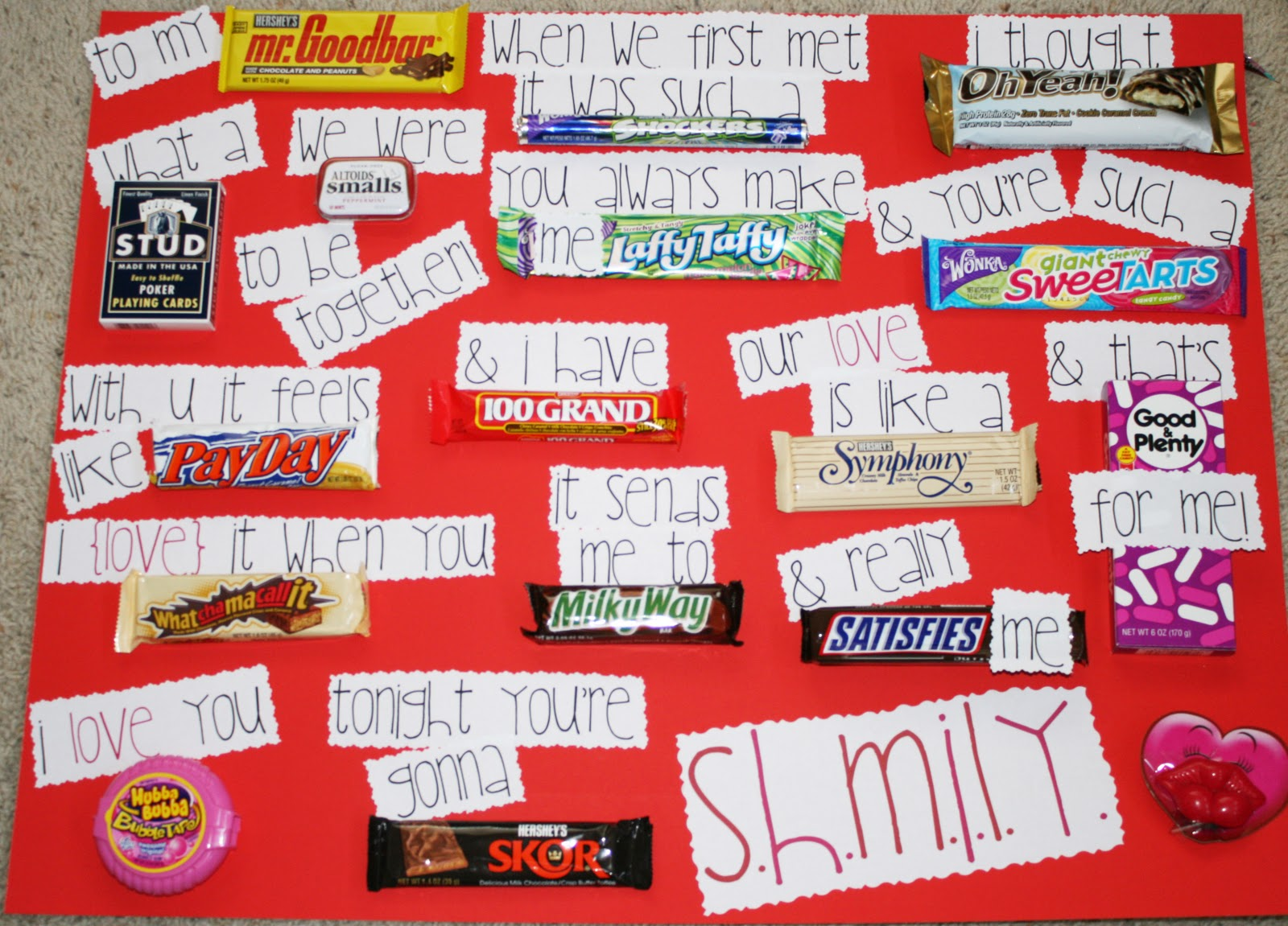 Candy Bar Cards for Boyfriends