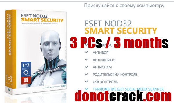 Free ESET NOD32 Smart Security 3 PCs 3 months giveaway