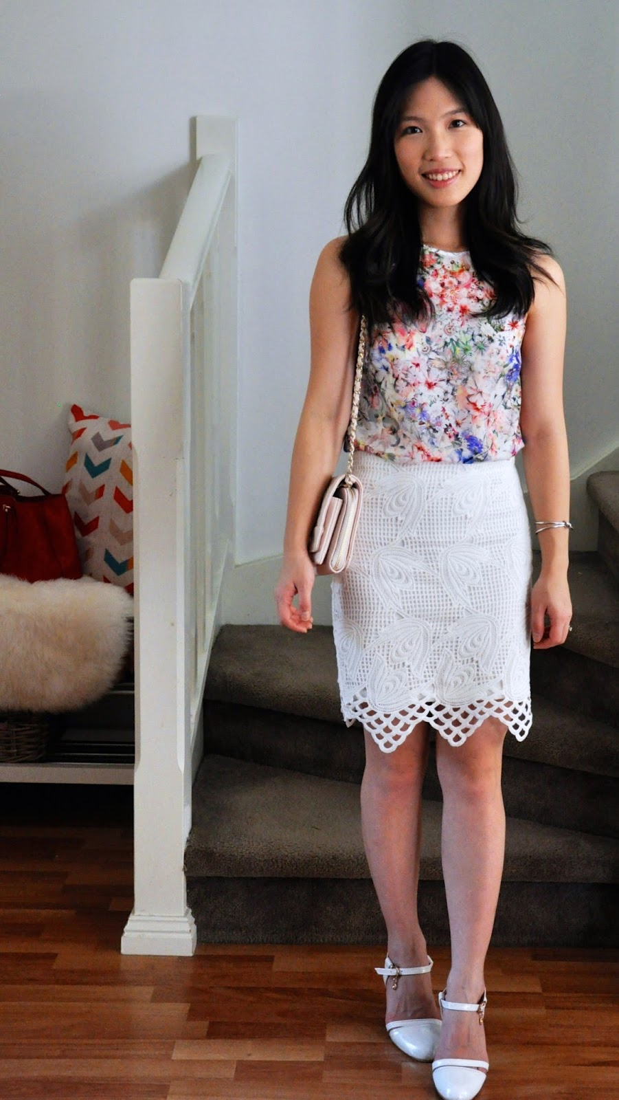 floral top white lace pencil skirt heels clutch