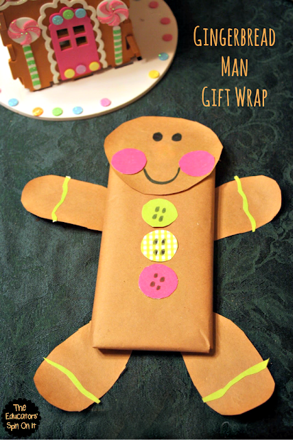 Gingerbread Man Gift Wrap Idea for the Holidays