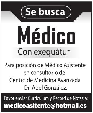 Empleo Se busca #Médico con Exequátur Envía tu CV | Ayuda Empleos RD ...