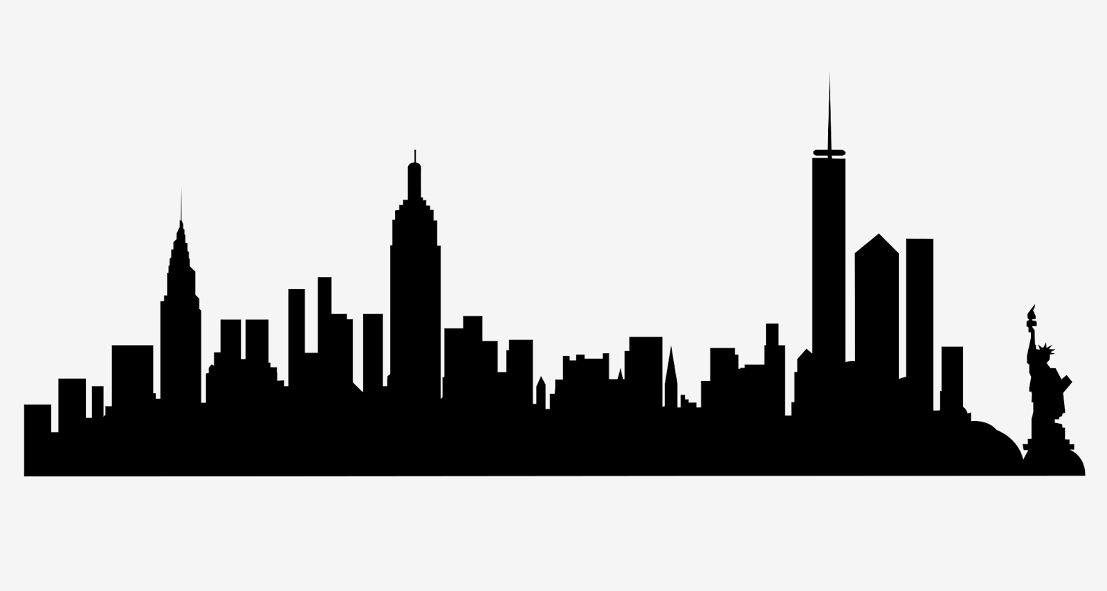 New York City Skyline Silhouette Free Svg