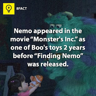 "facts , Nemo appeared in the movie ""Monster's Inc.""as one of Boo's toys 2 years before ""Finding Nemo"" was released."