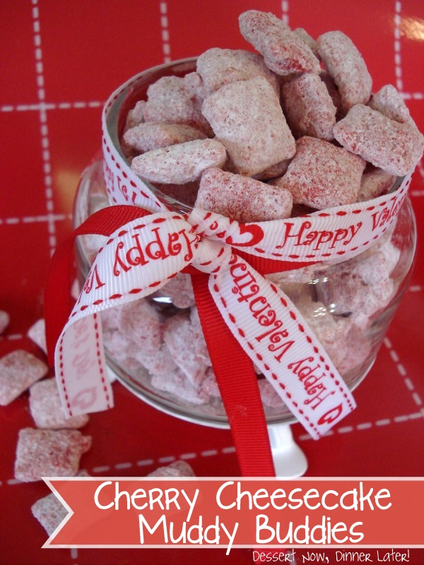 cherry cheesecake muddy buddies dessert now dinner later - Christmas Puppy Chow