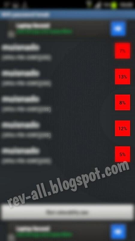Hasil scan password Wifi password breaker - aplikasi android untuk mengetahui kekuatan password wifi (rev-all.blogspot.com)