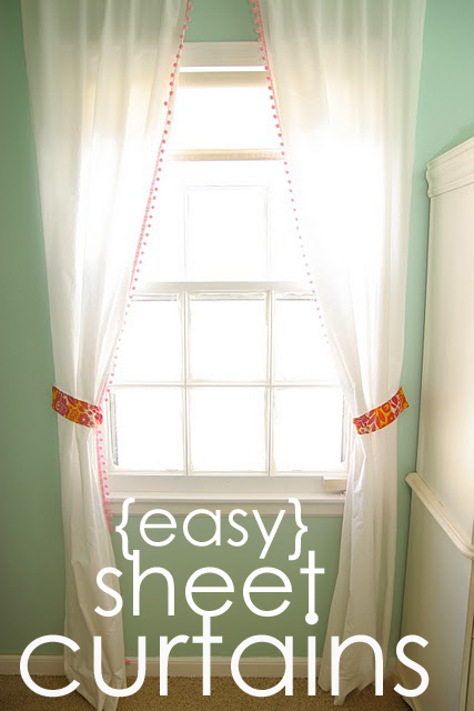 33 Shades Of Green Guest Post From Homemade Ginger Easy Sheet Curtains