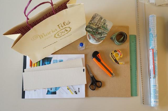 sacola da Maria Filá para C&A e outros materiais para fazer o porta copo - blog Carina Pedro