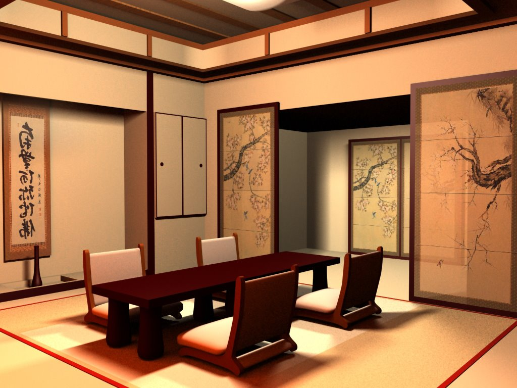 Japanese interior design interior home design for Asian dining room ideas