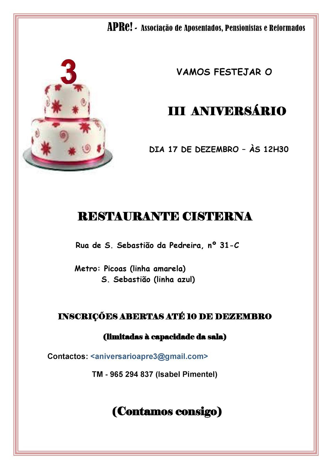 Lisboa, almoço comemorativo do 3º aniversário da APRe!