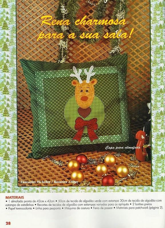 Moldes de rena para patchwork natalino