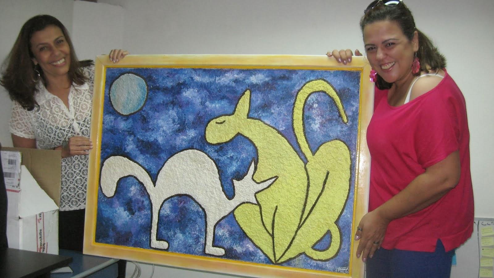 Ecotela Gatas ao Luar, criado pela artista plastica Alessandra Ferraz para Just TV!