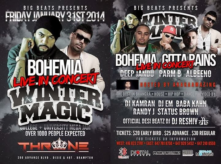 BOHEMIA the Punjabi Rapper - Live in Canada, Jan. 31 2014