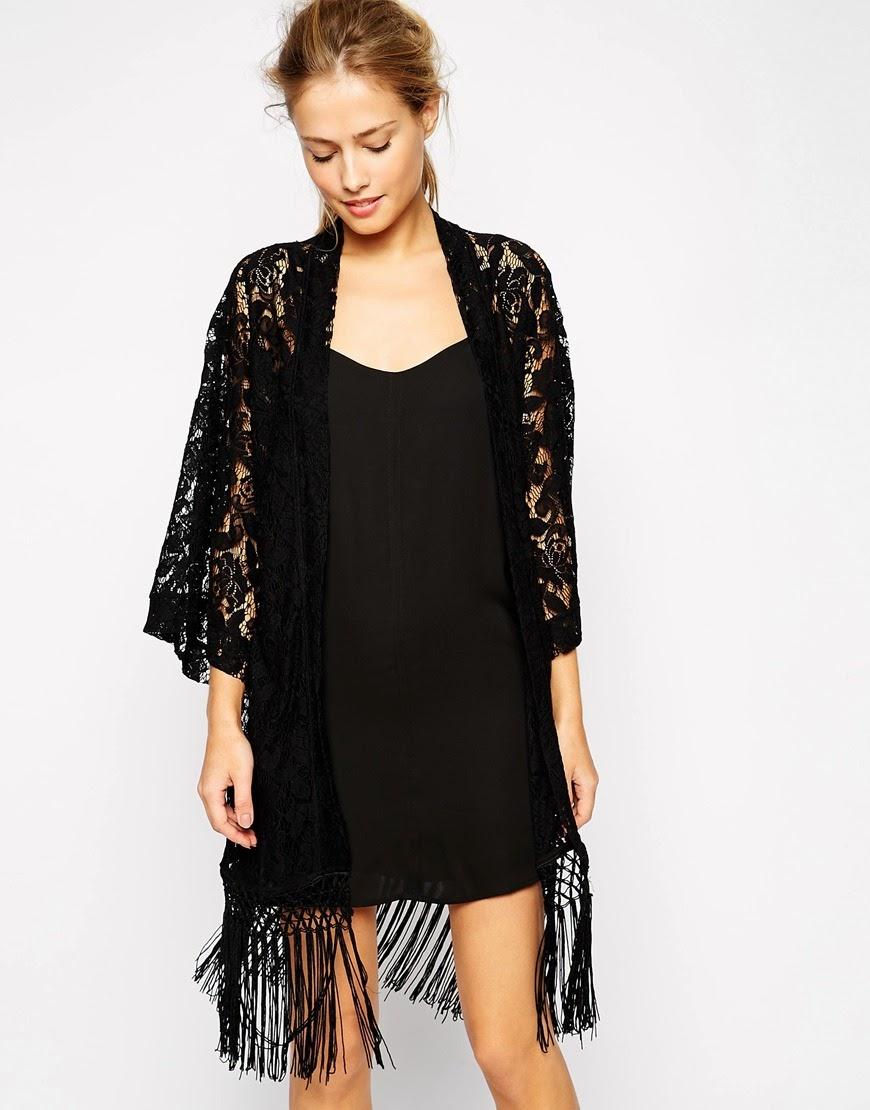 super trash black kimono, black lace fringed kimono,