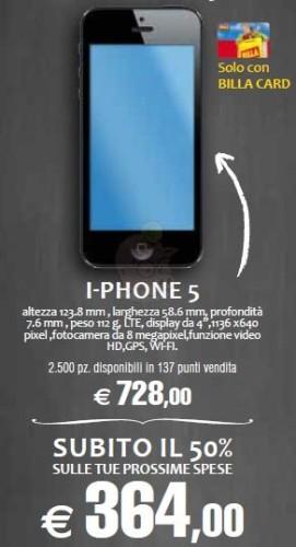 Ottima promozione facciamo a metà da Billa su iPhone 5 con bonus spesa del 50% sul costo d'acquisto