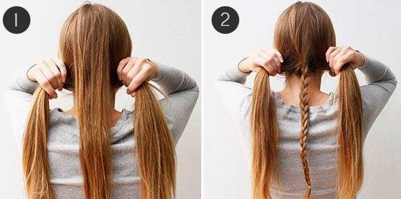 Con el cabello suelto que dejamos a cada lado realizamos una trenza simple ,uniendo de está manera la trenza delgada que hicimos en el paso anterior.