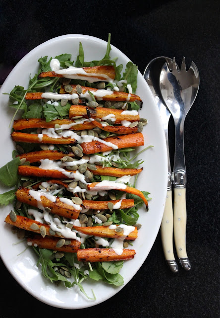 Roasted Carrot Salad with Yogurt Dressing and Pepitas