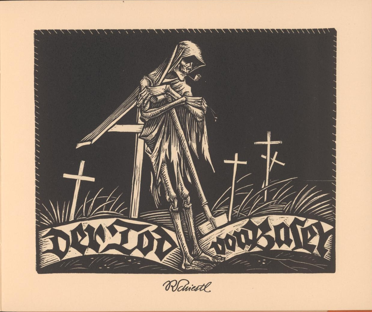 woodcut of danse macabre gravedigger in cemetery