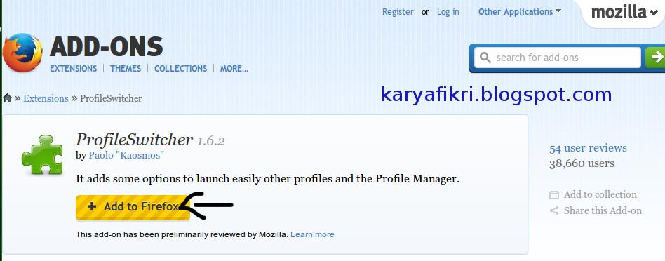 Cara menambahkan add-on Profileswitcher di mozilla firefox (karyafikri.blogspot.com)