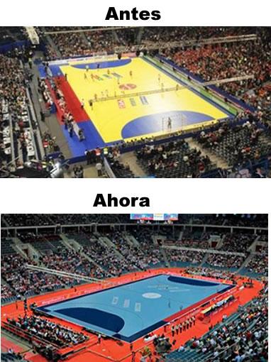 NUEVOS COLORES para las canchas del handball europeo Antes-ahora-ehf