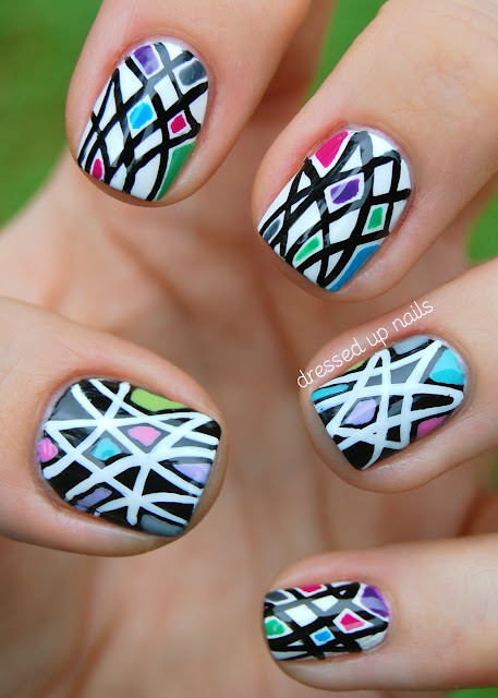 Black &amp; white geometric nails with pops of color