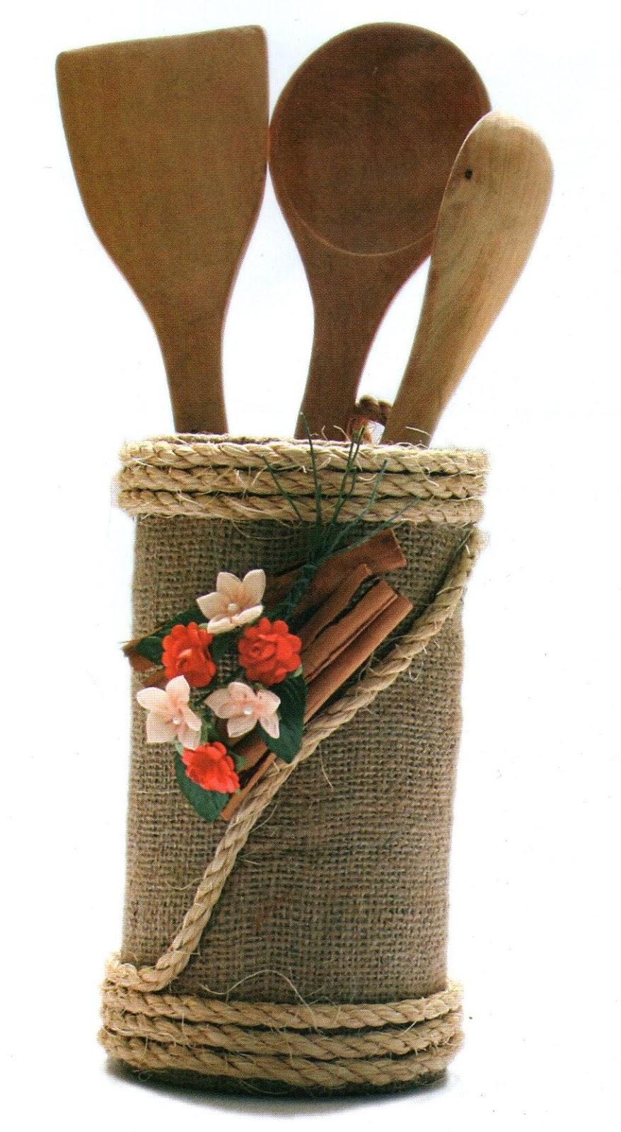 Detodomanualidades como hacer un porta cucharones rustico for Cucharones de cocina