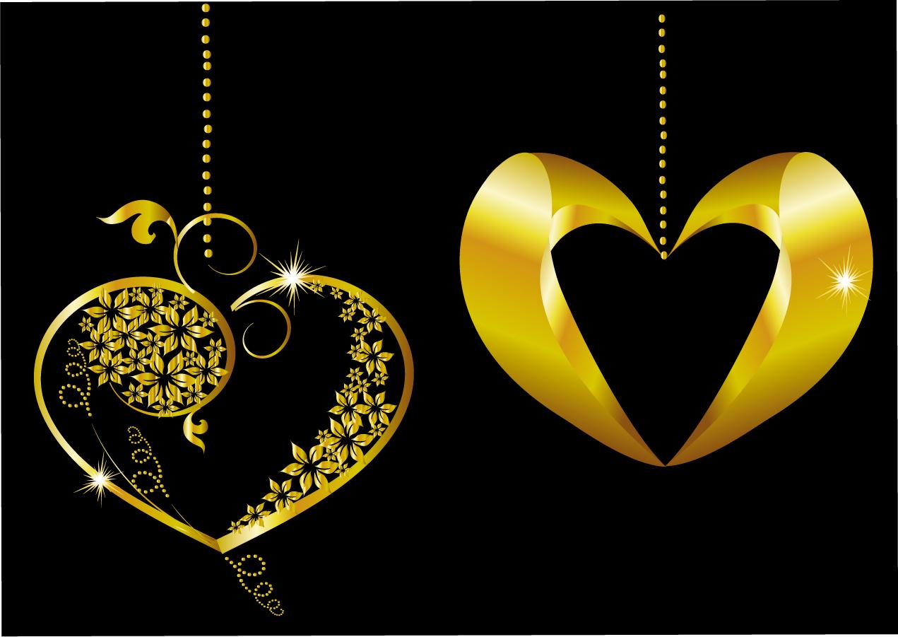 金色に輝くハート型ペンダント golden heartshaped pendant イラスト素材2