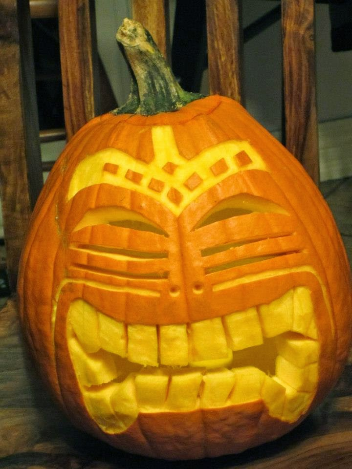 Tiki carved Pumpkin