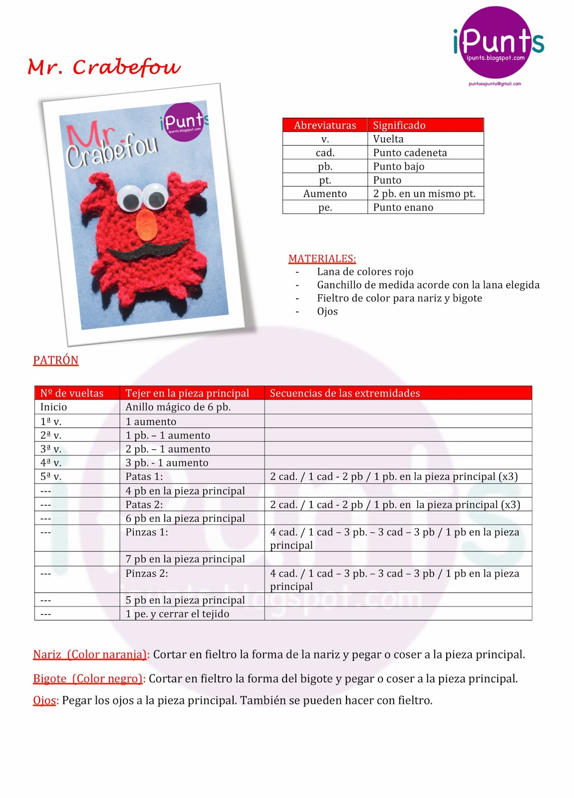 crabefou crochet patrón gratis ipunts