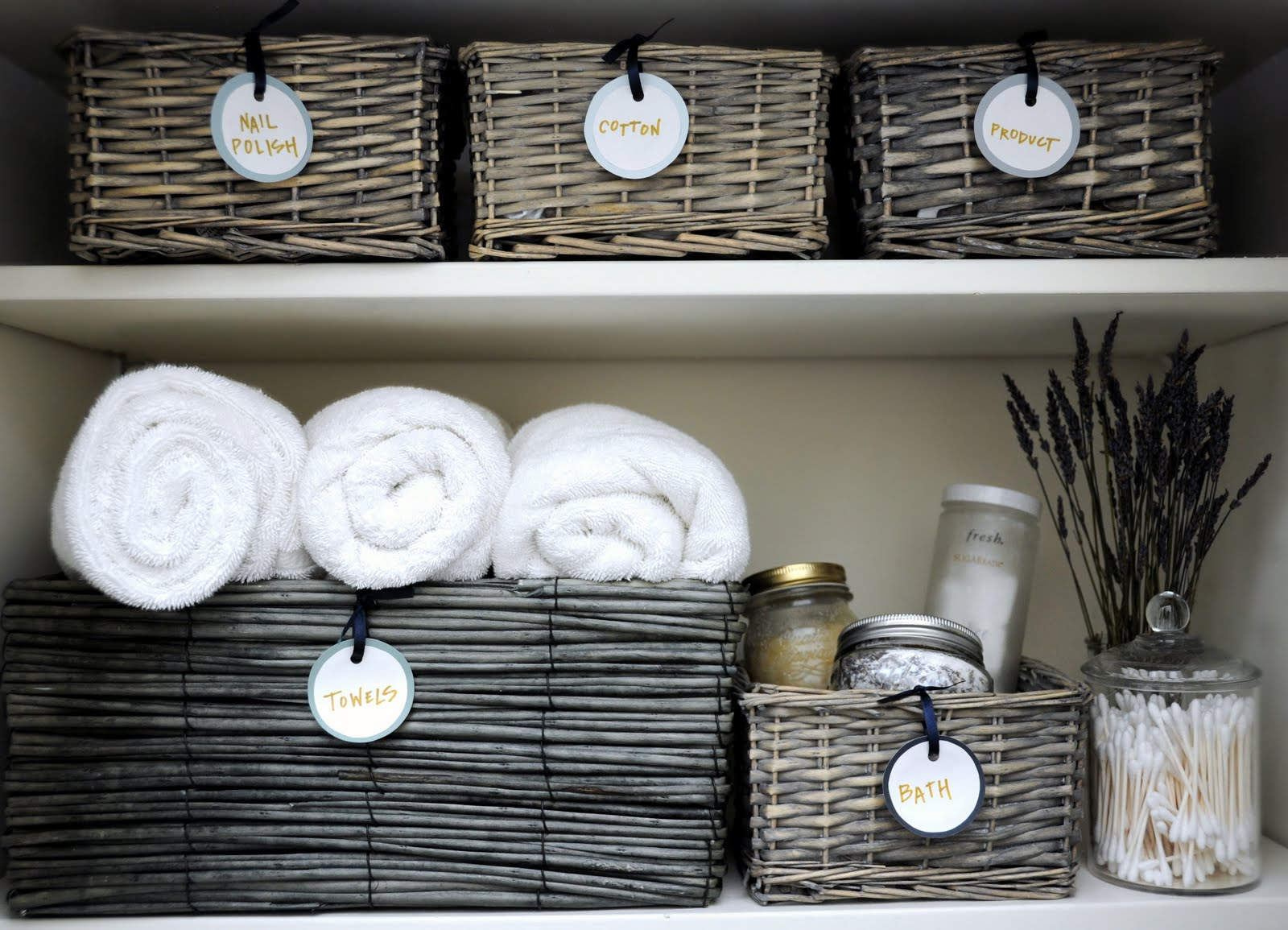 deliciously organized: organizing: linen closet + diy round labels