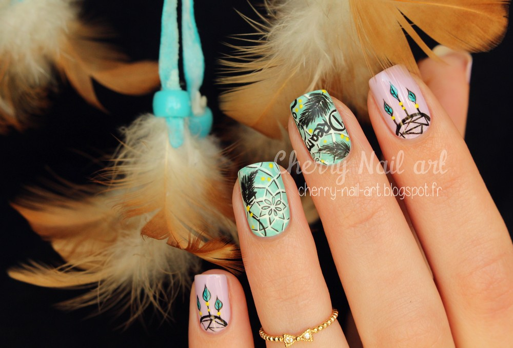 nail art dreamcatcher attrape reves