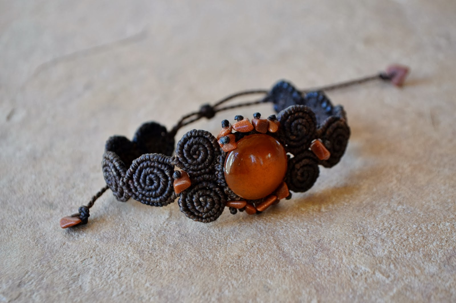 Spiral Macrame Bracelet with Orange Onyx Gemstone