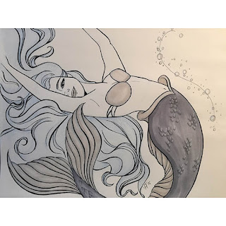 Ink and blue colored pencil drawing of a dreamy beautiful mermaid swimming in loops