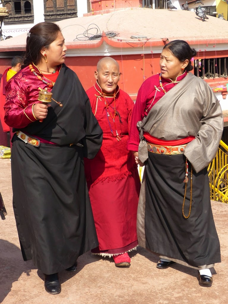 Tibetan women wearing traditional clothes