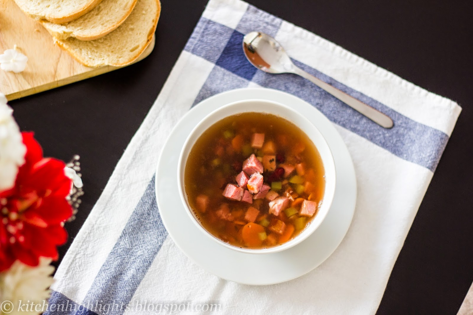 This soup is a satisfying combination of red beans, vegetables and meat