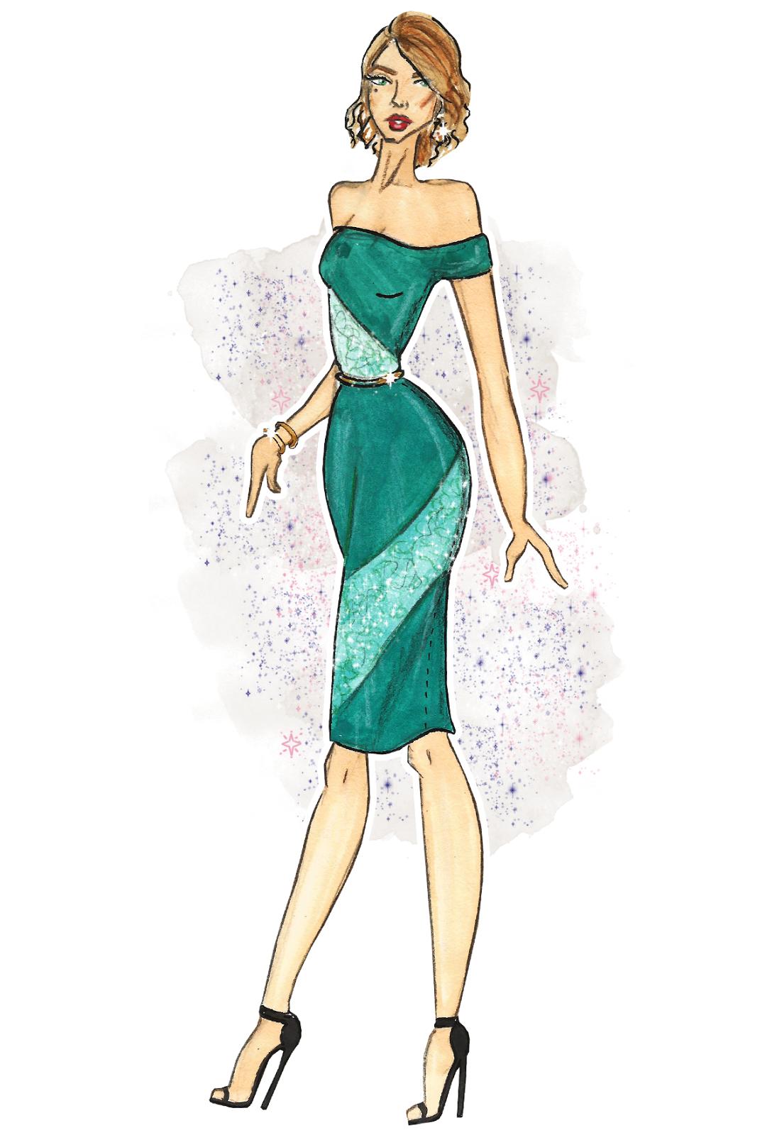 midnight city glam illustrations by lubna omar