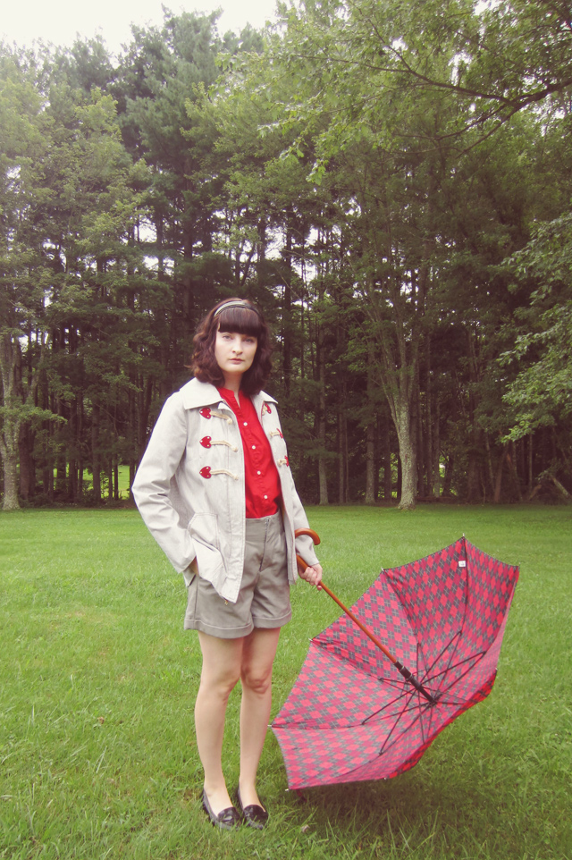 Hearts duffle coat with plaid umbrella