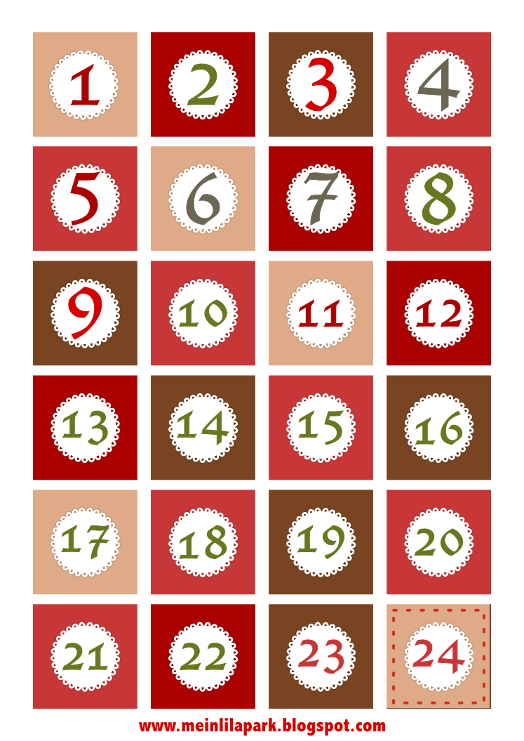 Calendar Numbers Clipart : Free printable christmas advent calendar numbers and