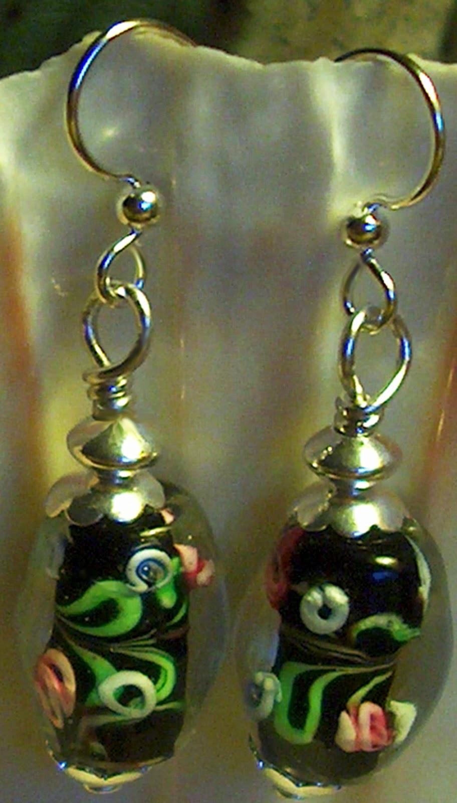 Black Lampwork Easter Egg Earrings Kirsten USA