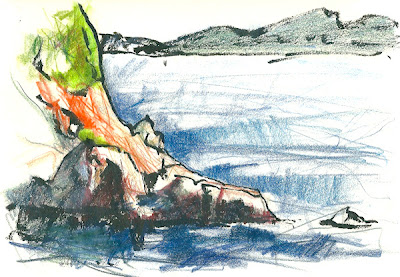 Anse des Engraviers, Bandol, encre, crayons de couleur, ink, felt pen, colored pencils