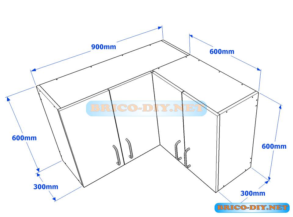 Muebles de cocina plano de alacena de melamina esquinera for Muebles de cocina para armar