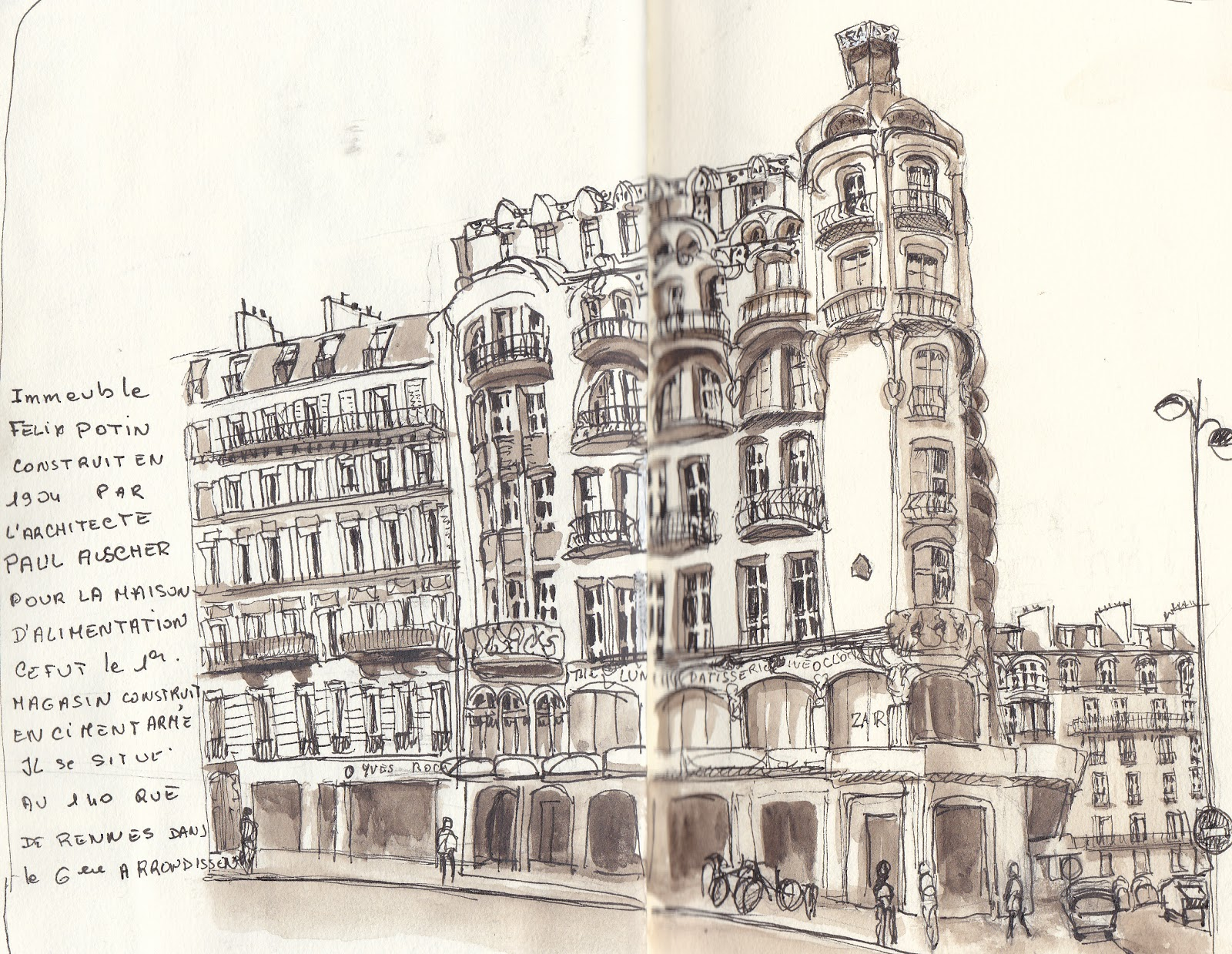 urban sketchers paris les anciens magasins felix potin. Black Bedroom Furniture Sets. Home Design Ideas