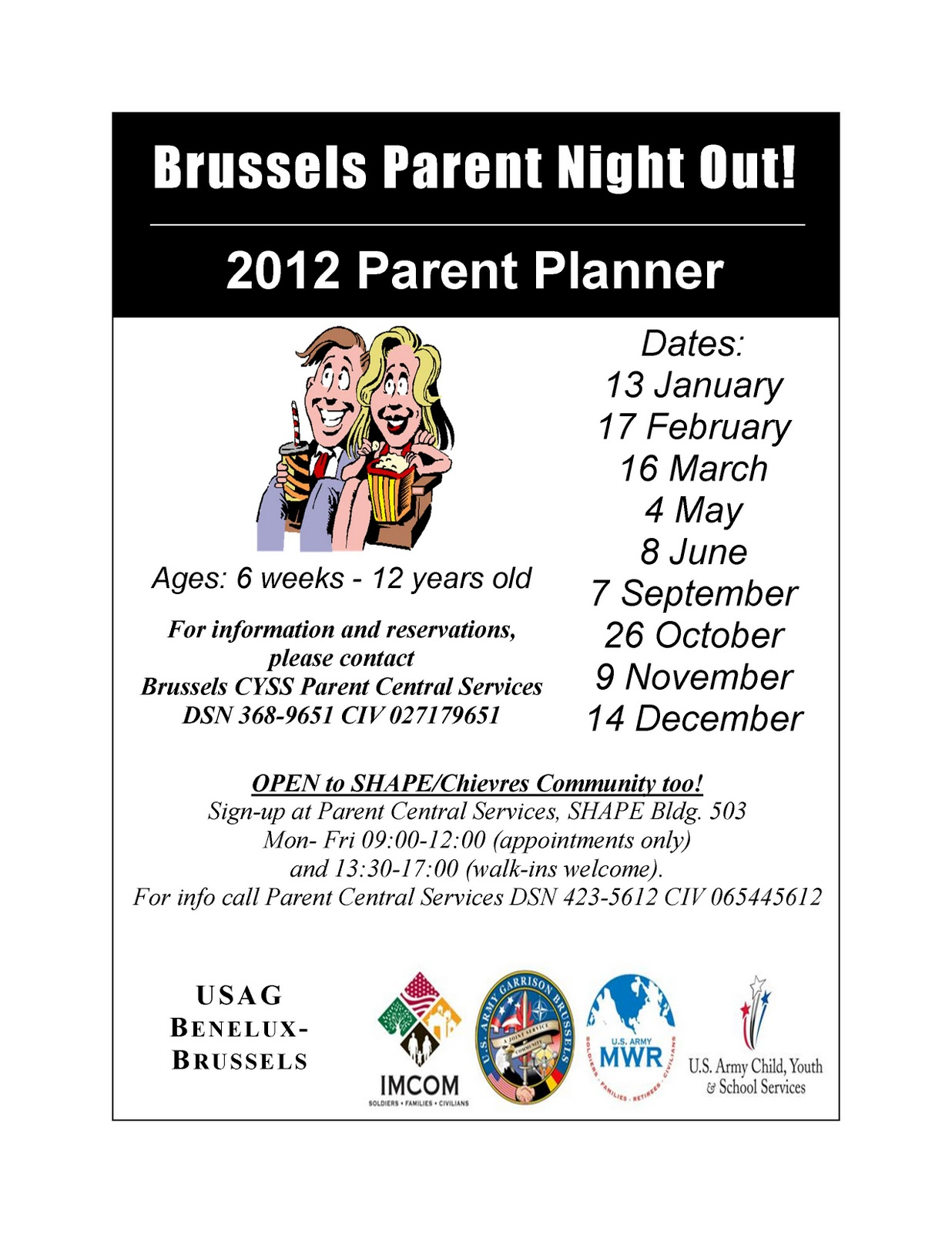 Parents Night Out Flyer Template - Family reading night flyer template