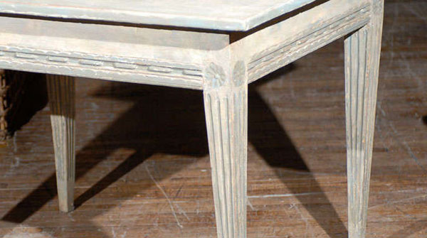This Is The Detail Of The Rosettes And The Tapered, Fluted Legs Of The  Exquisite Gustavian Table.