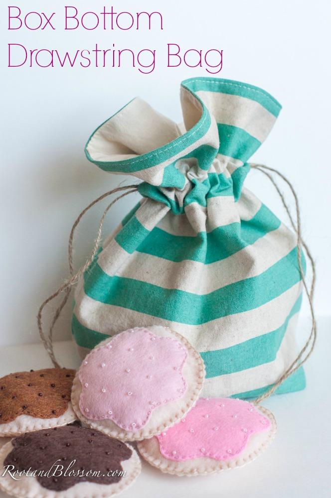 Rootandblossom: Box Bottom Drawstring Bag Tutorial