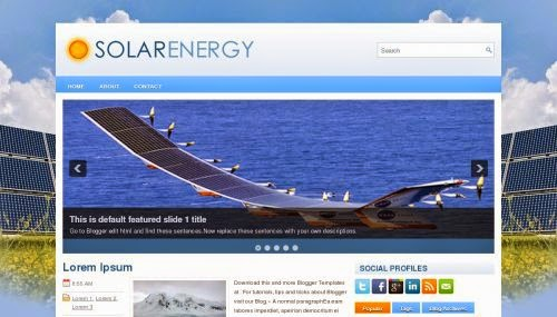 solar energy introduction blogger template 2014 for blogger or blogspot,free download solar energy blogger template 2014 2015,technology blogger template 2014,blue white combination blog template 2014