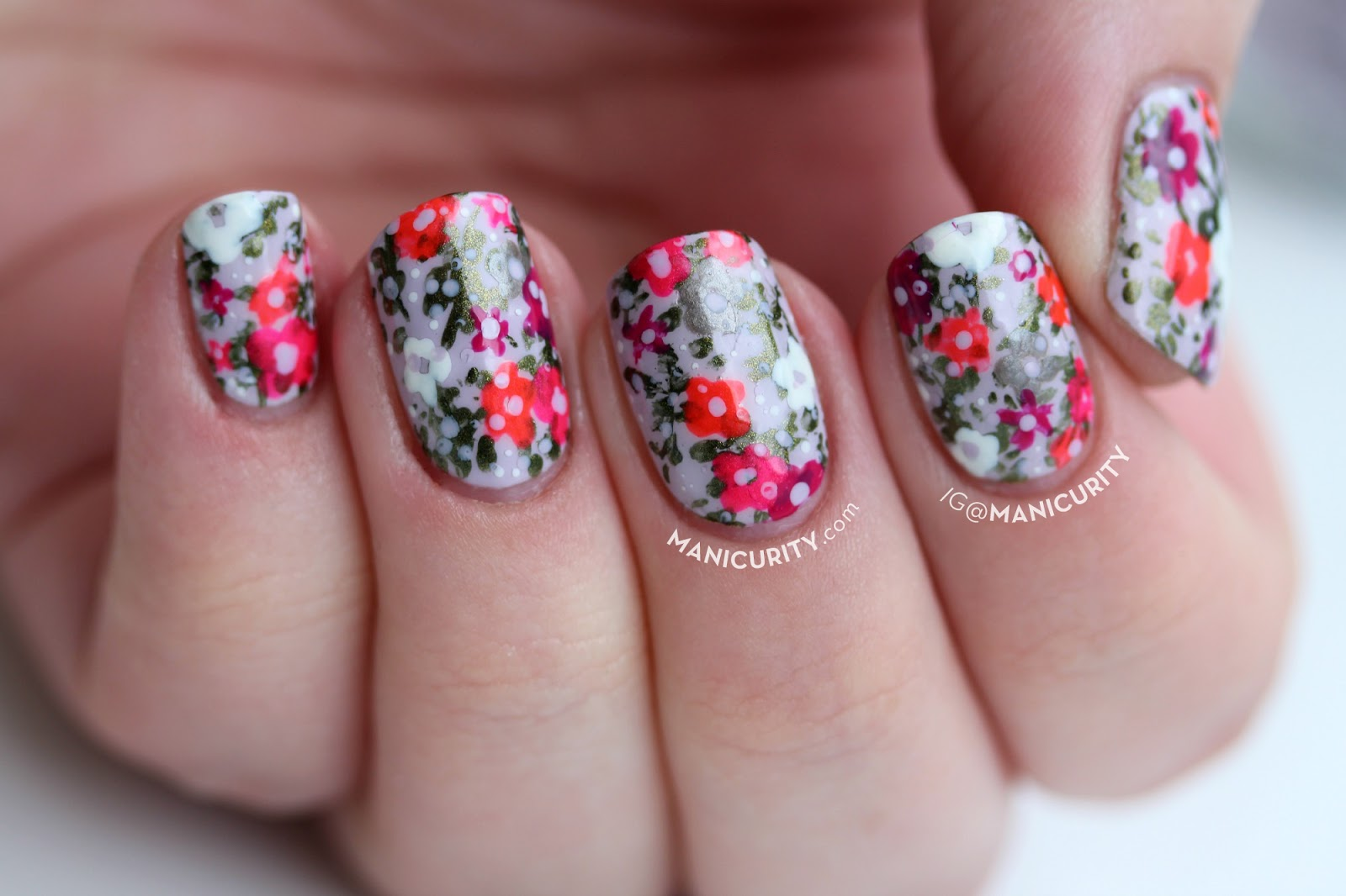 Manicurity Spring To Summer Floral Neon Pastel Nail Art With