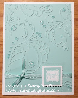 Card made with Stampin'UP!'s Elegant Lines embossing folder