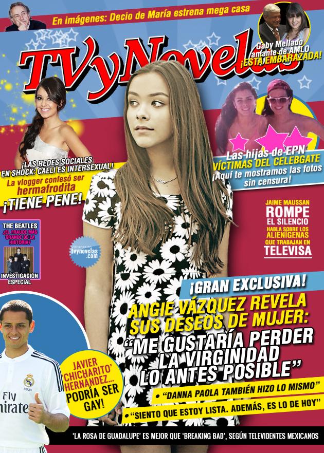La cantante mexicana Angie Vazquez en la portada de la revista de chismes y espectaculos TVyNovelas 2014 | Ximinia