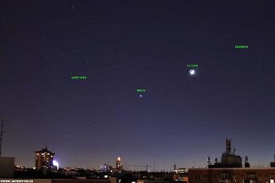 La Luna y Venus en el cielo de Madrid