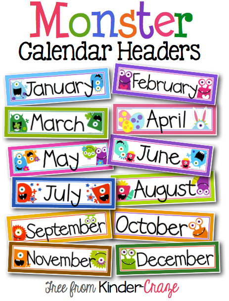 Calendar Craze May : Classroom freebies too monster theme calendar headers